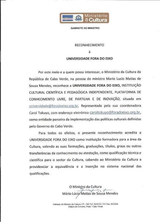 Reconhecimento à Universidade Fora do Eixo (Ministro da Cultura de Cabo Verde)
